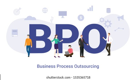 bpo business process outsourcing concept with big word or text and team people with modern flat style - vector