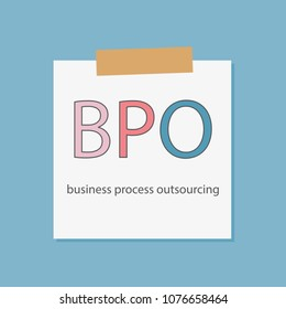 BPO Business Process Outsourcing written in a notebook paper- vector illustration