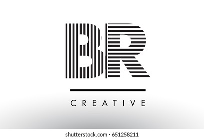 BR B R Black and White Letter Logo Design with Vertical and Horizontal Lines.