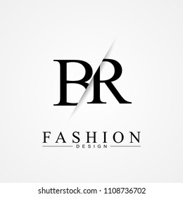 BR B R cutting and linked letter logo icon with paper cut in the middle. Creative monogram logo design. Fashion icon design template.