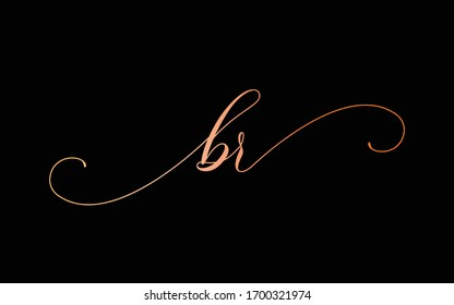 br or b, r Lowercase Cursive Letter Initial Logo Design, Vector Template