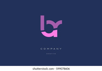 br b r  pink blue pastel modern abstract alphabet company logo design vector icon template