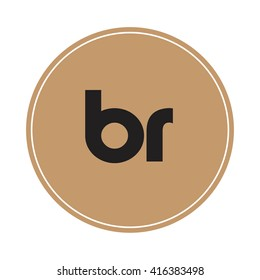 br brown letters ,abstract background logo, design identity in circle, alphabet letter