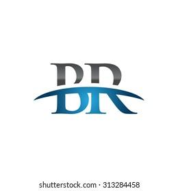 BR initial company blue swoosh logo