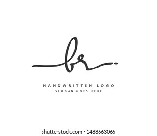 BR Initial handwriting or handwritten logo for identity. Logo with hand drawn style.