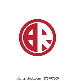 BR initial letters circle business logo red
