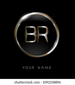 BR initial letters with circle elegant logo golden silver black background