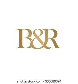 B&R Initial logo. Ampersand monogram golden logo