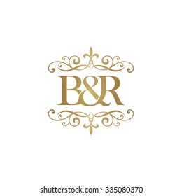 B&R Initial logo. Ornament ampersand monogram golden logo