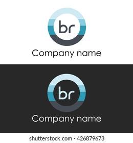 BR letter circle shape icon logo white blue