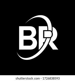 BR Letter Logo Design. Initial letters BR logo icon. Abstract letter BR B R minimal logo design template. B R Letter Design Vector with black Colors. br logo
