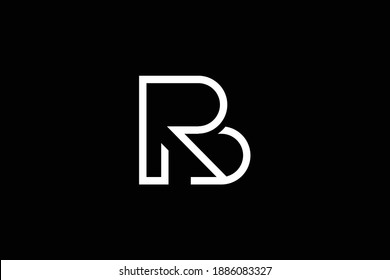 BR letter logo design on luxury background. RB monogram initials letter logo concept. BR icon design. RB elegant and Professional white color letter icon design on black background.