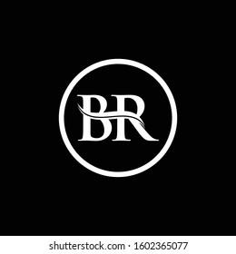 BR Letter Logo Design Vector With Black And White Color. BR Logo Design