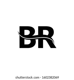 BR Letter Logo Design Vector With Blue and Grey Colors. BR Logo Design.