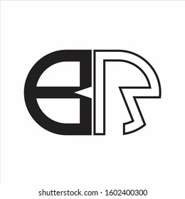 BR Letter logo monogram with oval shape negative space design template white background