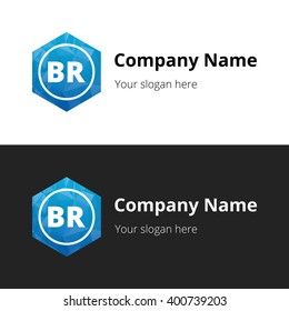 BR letters , Abstract Polygonal Background Logo, design for Corporate Business Identity, Alphabet letter