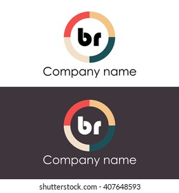 BR letters business logo icon design template. Vector with four colors circle