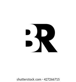 BR Logo. Vector Graphic Branding Letter Element. White Background