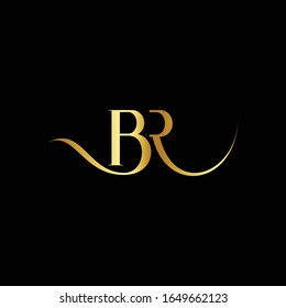 BR Modern unique creative stylish unusual fashion brands black and gold color BR RB initial based letter icon logo.
