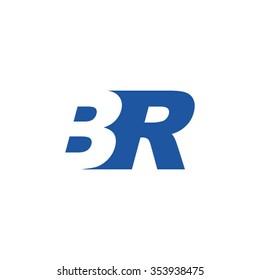 BR negative space letter logo blue