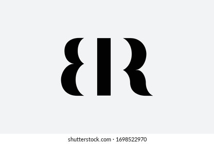 BR or RB and B or R Letter Initial Logo Design, Vector Template