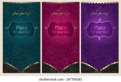 Bra with elegant floral background and empty space for text. Set of luxury vertical banners for Pajama Party, lingerie shop or underwear ad with gold elements. Vector