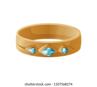 Bracelet with blue gemstones on centerpiece, accessory for women luxury expensive thing to be fashionable, isolated on vector illustration, flat style