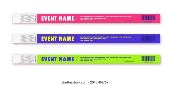 Bracelet event access different color for id fan zone or vip, party entrance, concert backstage identification, security checking, event. Mock up festival bracelet. Vector 10 eps