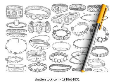 Bracelets and baubles doodle set. Collection of hand drawn stylish bracelets with stones, metals, jewels for wearing as accessories isolated on transparent background. Illustration of fashion baubles