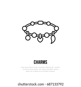 Bracelets with charms illustration. Jewelry flat line icon, jewellery store logo. Jewels accessories sign.
