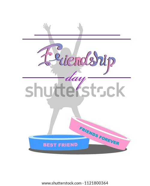 bracelets friendship blue and pink with a silhouette of a jumping girl