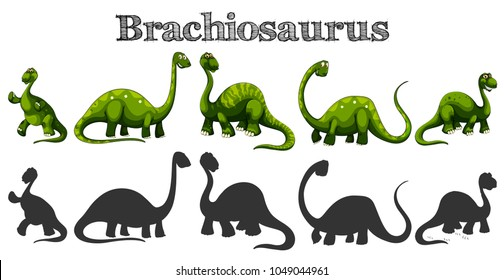 Brachiosaurus in five different actions illustration