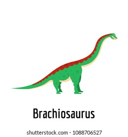 Brachiosaurus icon. Flat illustration of brachiosaurus vector icon for web.