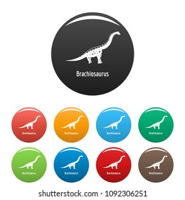 Brachiosaurus icon. Simple illustration of brachiosaurus vector icons set color isolated on white