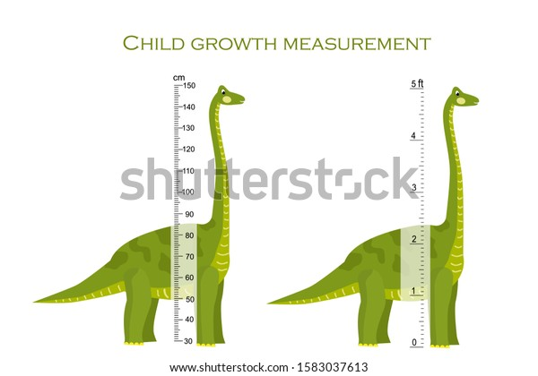 Brachiosaurus Stadiometer Scale Measuring Height Child Stock Vector Royalty Free 1583037613