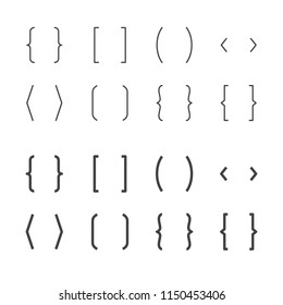 Brackets flat line icons. Brace vector illustrations. Thin signs of typography symbols.