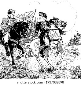 Braddock, this scene shows two horse riders are talking, soldiers behind them, vintage line drawing or engraving illustration