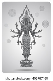 Brahma outline tradition thai design vector illustration