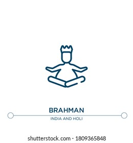 brahman outline vector icon. simple element illustration. brahman outline icon from editable india concept. can be used for web and mobile
