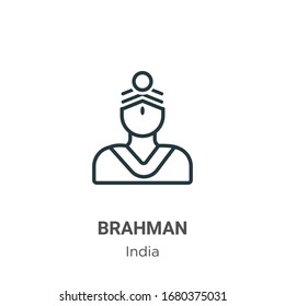 Brahman outline vector icon. Thin line black brahman icon, flat vector simple element illustration from editable india concept isolated stroke on white background