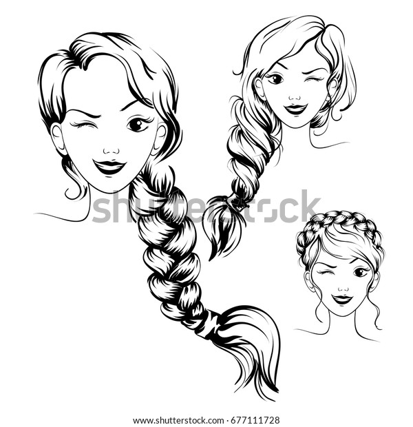 Braid Female Hairstyle Drawing Set Vector Stock Vector Royalty Free