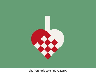 Braided Christmas heart in red and offwhite on retro green background.