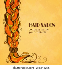 Braided hair card in sketch style. Vector illustration.
