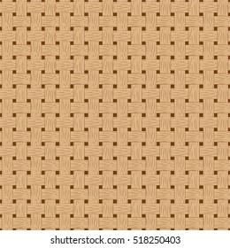 Braided seamless pattern. Wooden braided vector texture. Hand-drawn seamless pattern swatch of bark basket. Cartoon style braided pattern. Brown bark braided texture. Detailed seamless pattern tile