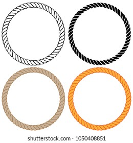Braided twisted rope circle border vector illustration