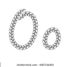 Braids font. Alphabet made from hairstyle plaits. Braided hair font. Letter O