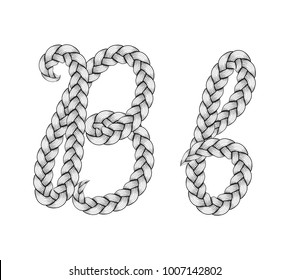 Braids font. Alphabet made from hairstyle plaits. Braided hair font. Letter B