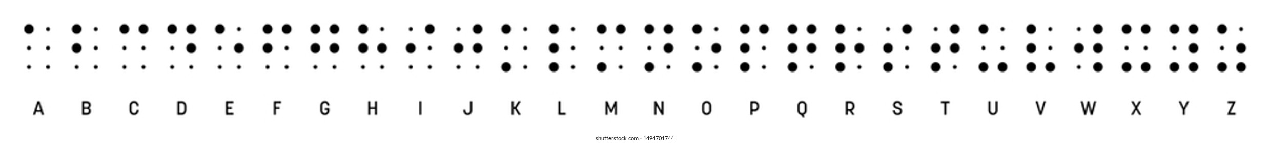 Braille alphabet letters in a row. Braille is a tactile writing system used by blind or visually impaired people. Vector illustration in black and white.