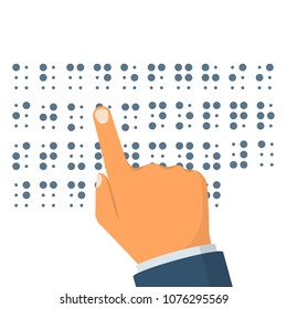 Braille language. Blind reading. Finger of the person drives on points. Letters for blind people. Vector illustration flat design. Isolated on white background. Blind reading text.