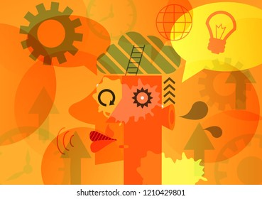 Brain abstract background , vector art design